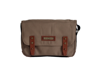 "Borsa Enam 1 -  dimension: 30 x 8 x 21cm,  Din-A5 square - lining: eco-cotton - applications: leather - body: cord (nylon) waterproof - shoulderbelt:  recycled car-safetybelt, adjustable - backside: zip-pocket  - inside:  protected tablett sleeve 10"", 2"