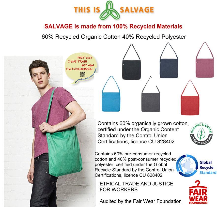 49ed565c48 Borsa di tela salvage 100% fibre riciclate (60% Cotone coltivato  biologicamente riciclato pre-consumo, 40% Poliestere riciclato  post-consumo) commercio ...