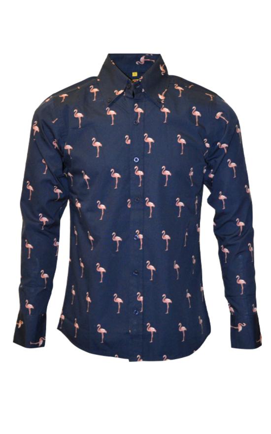 buy online 335ea e00a3 Camicia a maniche lunghe con stampa di fenicotteri, 100% cotone