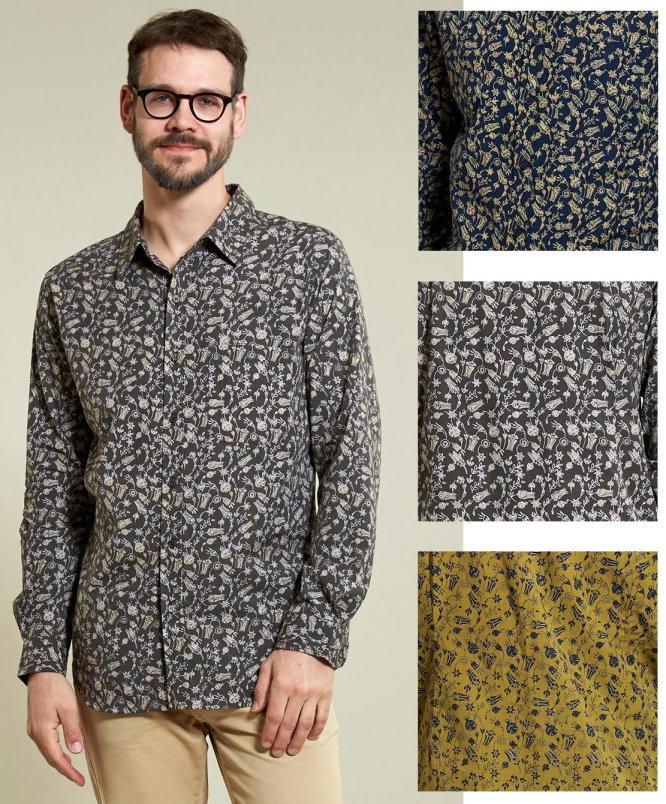 new style 67cb1 04645 Camicia con stampa a fiori, 100% cotone stampato a mano con tecniche  tradizionali indiane - Da commercio etico