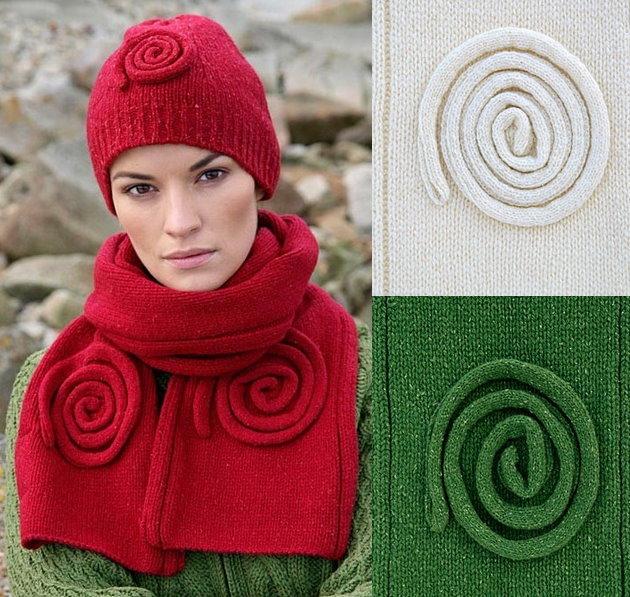 76353e0a3f Cuffia donna 100% lana merino, con spirale celtica