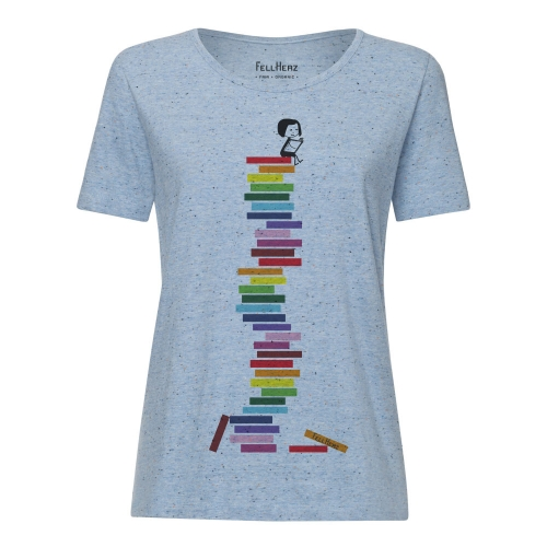 Fellherz Books t-shirt  Maglietta Fellherz con libri   100% cotone biologico fairtrade e GOTS