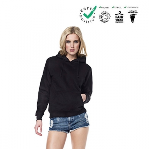 Felpa donna 100% cotone biologico con cappuccio commercio etico  earth positive  climate neutral