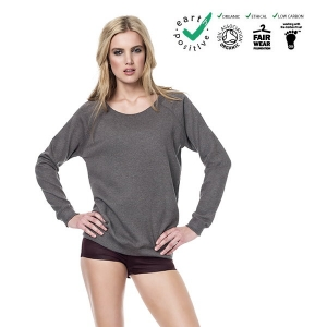 Felpa raglan donna 100% cotone biologico  commercio etico  earth positive  climate neutral