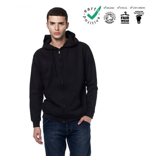 Felpa unisex 100% cotone biologico con cappuccio e zip  commercio etico  earth positive  climate neutral