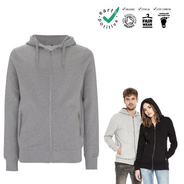 new style e05bb fe84e Felpa unisex in cotone biologico, con cappuccio e cerniera Unisex zip-up  hoody, 100% organic cotton