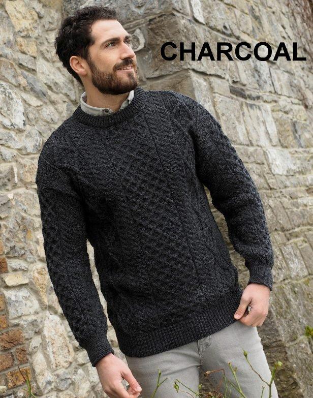 920b43e3cd Maglione girocollo unisex 100% pura lana vergine, con punti a maglia  tradizionali irlandesi