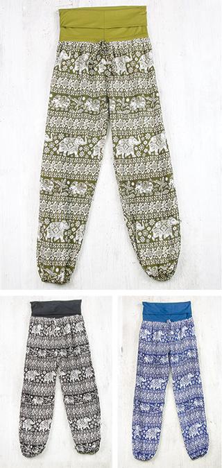 nuovo di zecca 1be8e 4c803 Pantaloni yoga con stampa di elefanti, con fascia da ripiegare in vita, in  viscosa 100%. Fatti a mano in Nepal da commercio etico fair trade. ...