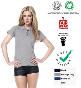 Polo donna in piqué 100% cotone biologico  earth positive  climate neutral
