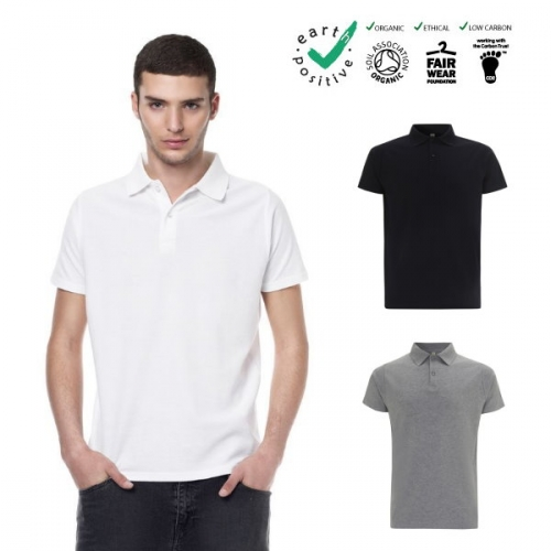 Polo uomo in piquet 100% cotone biologico GOTS e fair trade