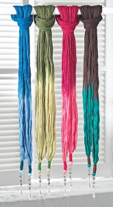 Sciarpa tie dye con perline, 100% cotone effetto crinkle, 50 x 170cm. Fatta a mano in India, da commercio etico  fair trade
