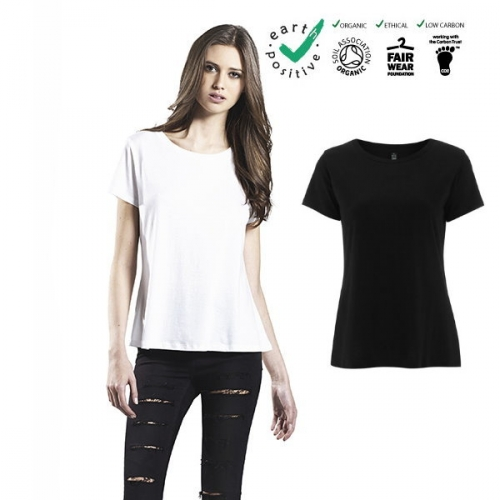 T-shirt donna in cotone biologico e tencel (viscosa di eucalipto, naturale e sostenibile) WOMEN'S TENCEL BLEND T-SHIRT - 50% Combed Organic Cotton   50% Tencel© Lyocell