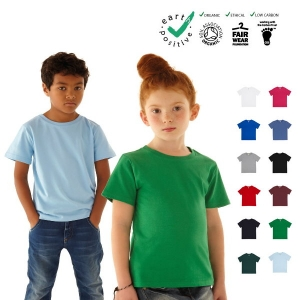 T-shirt junior classica, bambino e bambina, 100% cotone biologico  commercio etico  earth positive  climate neutral