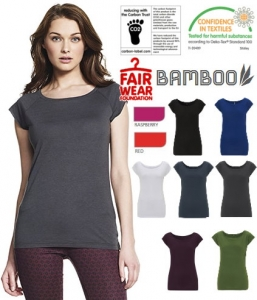 Top raglan in viscosa di bamboo - commercio etico  con il 20% di cotone biologico