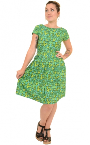 Vestito con cactus in fiore -Blooming cacti retro dress- 100% cotone