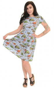 Vestito con dinosauri  Adventure dinosaurs retro dress- 100% cotone
