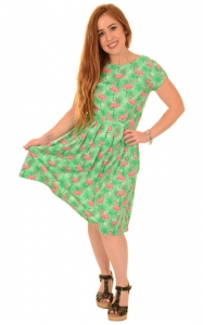 Vestito con fenicotteri e palme, 100% cotone  Tropical burst flamingo dress