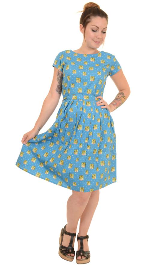 a195ad8566df Vestito con gatti e pois -Kitty polka dots retro dress- 100% cotone