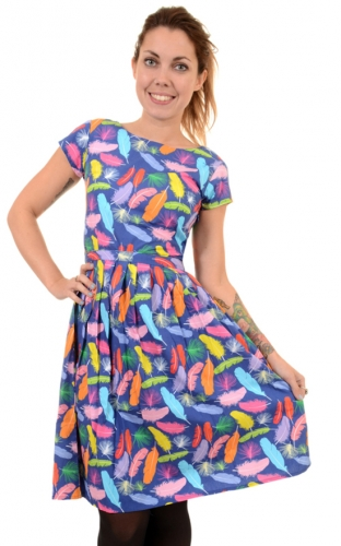 Vestito con penne e piume colorate Feather retro dress, 100% cotone