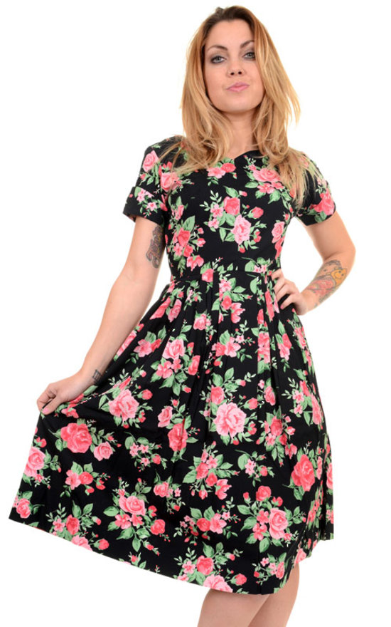 official photos fddcb ed8c6 Vestito con rose Vintage floral dress, 100% cotone
