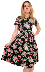 Vestito con rose Vintage floral dress, 100% cotone