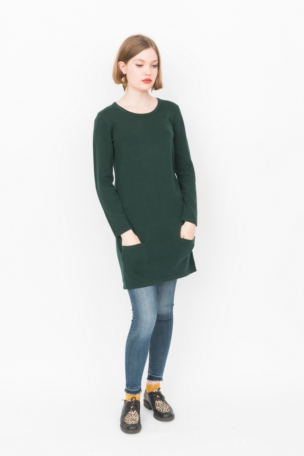 buy online b7da7 38d5a Vestito in maglina a maniche lunghe, tipo maxi maglione con tasche, 100%  cotone